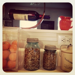 Vintage jars are great for holding snacks. Pecans and almonds stay fresh and crunchy!